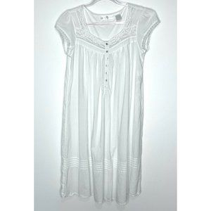 Eileen West White Lace Trim Cotton Nightgown Size S